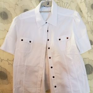 Fred David Stretch White Button Up Short Sleeve